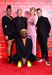 will.i.am, Jennifer Hudson, Sir Tom Jones, Emma Willis, and Olly Murs attending the Voice UK launch at the W Hotel, London.