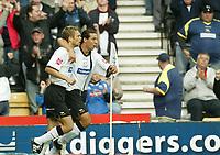Photo: Aidan Ellis.<br /> Derby County v Leicester City. Coca Cola Championship. 01/10/2005.<br /> Derby's Mounir El Hamdaoui celebrates his equaliser with team mate Morten Bigaard