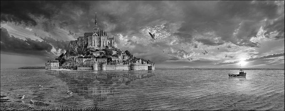 Sacred Stone - Black and white photo art print of Mont Saint-Michel Island, Normandy by Paul Williams.Le Mont-Saint-Michel is a tidal island Norman Abbey in Normandy, France. .<br /> <br /> Visit our LANDSCAPE PHOTO ART PRINT COLLECTIONS for more wall art photos to browse https://funkystock.photoshelter.com/gallery-collection/Places-Landscape-Photo-art-Prints-by-Photographer-Paul-Williams/C00001WetsxVxNTo
