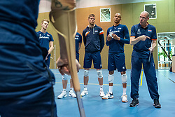 07-05-2019 NED: Press moment national volleyball team Men, Arnhem<br /> Roberto Piazza, the new national coach of the Dutch men's team, gives an overview of the group matches of the Golden European League, the OKT and the European Championship played in their own country / Coach Roberto Piazza, Thijs ter Horst, Nimir Abdelazziz