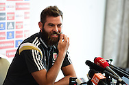 Wales player Joe Ledley speaks to the press at the Wales football team players media conference at Hensol Castle  near Cardiff, South Wales on Tuesday 9th June 2015. The Wales team are preparing for their forthcoming Euro 2016 qualifying match against Belgium.<br /> pic by Andrew Orchard, Andrew Orchard sports photography.