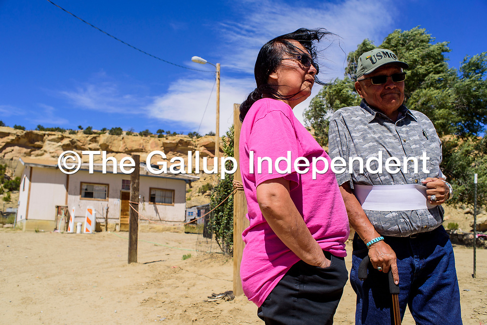 Chapter president Raphael Martin, left, talks with Pinedale resident Lorraine Martin at her home Tuesday.