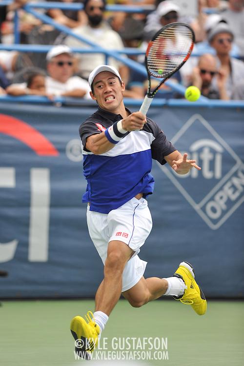 KEI NISHIKORI of Japan plays against Marin Cilic of Croatia  at Day 6 of the Citi Open at the Rock Creek Tennis Center in Washington, D.C. Nishikori won in 3 sets.