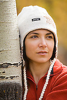 Portrait of young woman in aspen grove near South Lake Tahoe, CA.