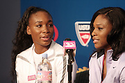 l to r: Venus Williams and Serena Williams at The 2008 Arthur Ashe Kids' Day held at The USTA Bille Jean King National Tennis Center on August 23, 2008 in Flushing, NY