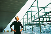 Peter Eisenman, an American Architect who draws his inspiration from philosophy and linguistics to design complex structures.  Photographed at Wexner Center for the Visual Arts, at Ohio State University, Columbus in 1998.
