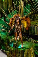 Dancer on a float in the Carnaval parade of Academicos da Rocinha samba school in the Sambadrome, Rio de Janeiro, Brazil.