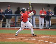 Ole Miss' Andrew Mistone (25) drives in a run in the 7th inning vs. Lipscomb at Oxford-University Stadium in Oxford, Miss. on Sunday, March 10, 2013. Ole Miss won 9-8. The Rebels improve to 16-1.