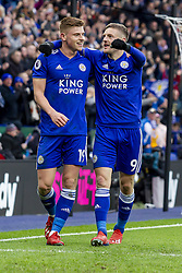 March 9, 2019 - Leicester, Leicestershire, United Kingdom - Harvey Barnes of Leicester City celebrates with goal scorer Jamie Vardy of Leicester City   during the Premier League match between Leicester City and Fulham at the King Power Stadium, Leicester on Saturday 9th March 2019. (Credit Image: © Mi News/NurPhoto via ZUMA Press)