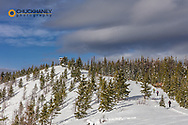 Cross country ski touring on Firefighter Mountain in the Flathead National Forest, Montana, USA MR