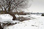 View towards central Bridgwater from the Meads, next to Durleigh Brook after overnight snow.