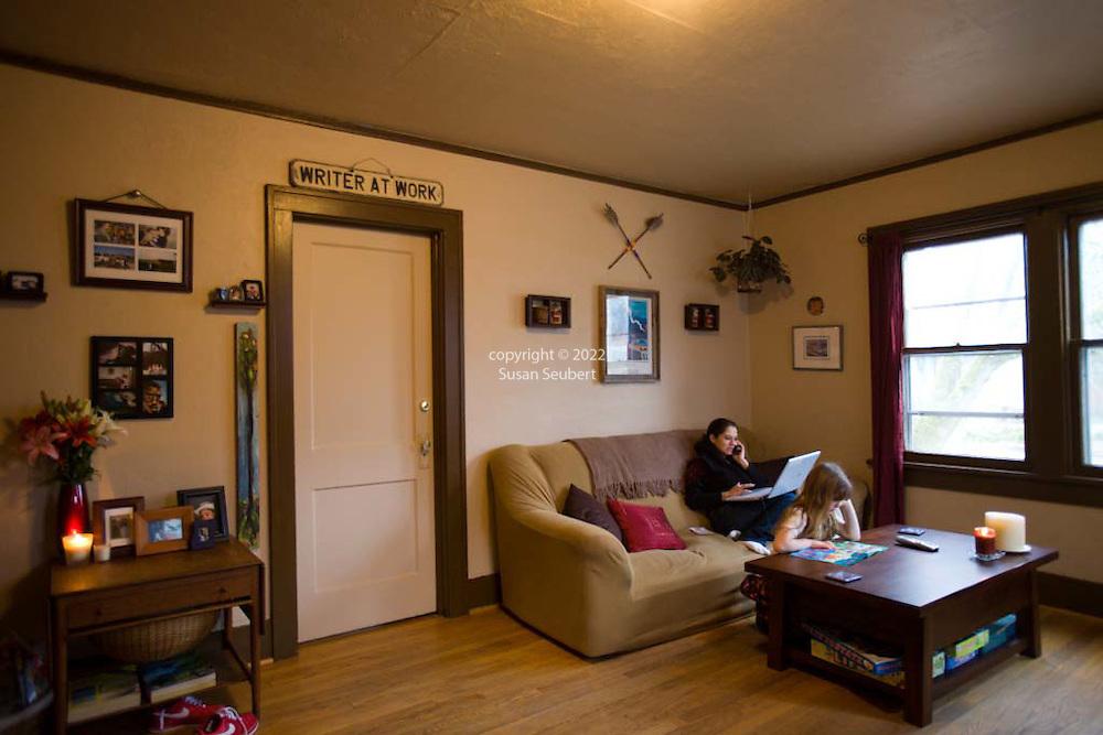 Margaret B. Jones and her daughter, Rya Hickey in their living room in Eugene, Oregon