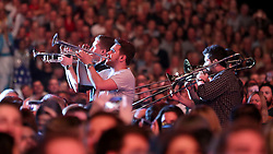 Performers during the Lightning Seeds performance of Three Lions during the BBC Sports Personality of the Year 2018 at Birmingham Genting Arena.