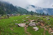 First view of Kheerganga after ending the 10 plus kilometer hike from barsheni in Parvati valley in Kullu, Himachal Pradesh, India