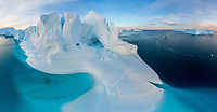 Aerial view of big glacier structures in Greenland.