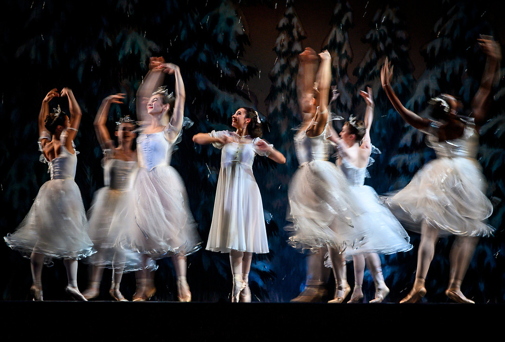 """Isabella Velasquez, middle, plays Marie in the Sacramento Ballet's """"The Nutcracker"""" in the dress rehearsal in Memorial Auditorium in Sacramento, Wednesday, Dec. 11, 2019. The show opened on Thursday."""
