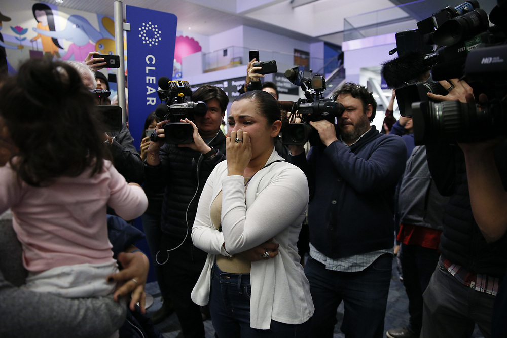 Sindy Flores is reunited with her daughter Juliet at San Francisco International Airport on Tuesday, Jan. 29, 2019, in San Francisco, Calif. The Honduran mother is pursuing her asylum claim in San Francisco. Her one-year-old daughter Juliet was held at a Texas shelter for a month, when she was separated from her father attempting to cross the U.S.-Mexico border.