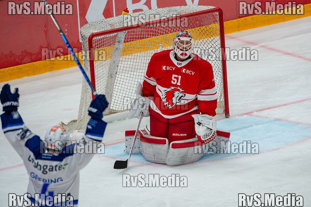 LAUSANNE, SWITZERLAND - OCTOBER 01: Goalie Tobias Stephan #51 of Lausanne HC concedes a goal during the Swiss National League game between Lausanne HC and ZSC Lions at Vaudoise Arena on October 1, 2021 in Lausanne, Switzerland. (Photo by Robert Hradil/RvS.Media)