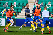 Jason Kerr (#5) of St Johnstone FC (centre) during the warm up before the SPFL Premiership match between Hibernian and St Johnstone at Easter Road Stadium, Edinburgh, Scotland on 1 May 2021.