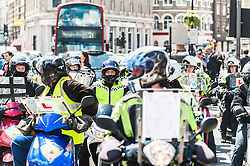 Trainee London taxi drivers bring chaos to the streets of Southwark as they protest over the refusal to place a Black Cab taxi rank outside the entrance to The Shard. May 2013 London