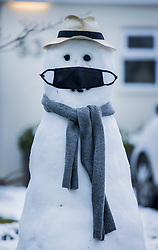 © Licensed to London News Pictures. 24/01/2021. Leatherhead, UK. A snowman built in the garden of a house near Leatherhead in Surrey, sports a face mask. A band of snow is crossed the south east this morning as temperatures remain just above freezing. Photo credit: Peter Macdiarmid/LNP