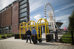 © Licensed to London News Pictures . 23/09/2016 . Liverpool , UK . Security measures in place outside the venue . Preparations at the Liverpool Arena and Convention Centre ahead of the Labour Party Leadership Declaration and 2016 Conference . Photo credit : Joel Goodman/LNP