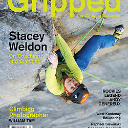 Stacey Weldon high up on the multi-pitch route Arch Enemy 5.11d at the Stanley Headwall in Kootenay National Park, BC, Canada.