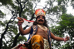 August 14, 2017 - Dhaka, Bangladesh - Bangladeshi Hindus celebrate Krishna's birthday in Dhaka on August 14, 2017. Hindus around the world are celebrating the festival of Janmashtami, marking the birth of Krishna, one of the most popular Gods in Hinduism. Krishna is regarded as an incarnation of Vishnu - the preserver of the universe. Vishnu is part of the Hindu holy trinity with the creator Brahma and the destroyer Shiva. On Janmashtami, children across Bangladesh dress up as baby Krishna - darkening their complexion, adding a peacock feather to the crown and putting a flute to their lips. (Credit Image: © Mehedi Hasan/NurPhoto via ZUMA Press)