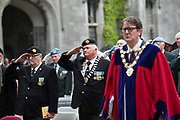 08/07/2018  repro  free: Ex-servicemen  Pat Nugent and Jim Larkin, ONE  and Cllr Niall McNelis Mayor of galway City at  The National Day of Commemoration Ceremony at NUI Galway in honour of all those Irishmen and Irish Women who served in past wars or on Service with the UN.Photo:Andrew Downes, XPOSURE