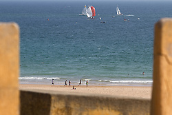 Portimao Portugal Match Cup 2010 viewed from high above  Rocha Beach. World Match Racing Tour. Portimao, Portugal. 25 June 2010. Photo: Gareth Cooke/Subzero Images