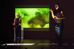 © Licensed to London News Pictures. 11/10/2012. London, UK. Sadler's Wells Theatre present Cedar Lake Contemporary Ballet Company. Picture shows Alexander Ekman's Tuplet, dancer(s): Navarra Novy-Williams & Joaquim de Santana. Photo credit: Tony Nandi/LNP