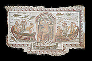 Late 4th century AD Roman mosaic panel of  Venus, Aphrodite, on a boat crowning herself accompanied by six dwarfs. From Cathage, Tunisia.  The Bardo Museum, Tunis, Tunisia. Black background .<br /> <br /> If you prefer to buy from our ALAMY PHOTO LIBRARY  Collection visit : https://www.alamy.com/portfolio/paul-williams-funkystock/roman-mosaic.html - Type -   Bardo    - into the LOWER SEARCH WITHIN GALLERY box. Refine search by adding background colour, place, museum etc<br /> <br /> Visit our ROMAN MOSAIC PHOTO COLLECTIONS for more photos to download  as wall art prints https://funkystock.photoshelter.com/gallery-collection/Roman-Mosaics-Art-Pictures-Images/C0000LcfNel7FpLI