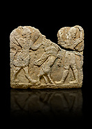 Photo of Hittite relief sculpted orthostat stone panel of Herald's Wall. Limestone, Karkamıs, (Kargamıs), Carchemish (Karkemish), 900-700 B.C. Anatolian Civilisations Museum, Ankara, Turkey.<br /> <br /> On the left is a winged mixed creature with a human head and body who has a scorpion tail and bird legs; on the right is a human-like god. The figures fight with a winged bull standing on its hind legs. The scorpion-man is known as Girtablull. <br /> <br /> Against a black background. .<br />  <br /> If you prefer to buy from our ALAMY STOCK LIBRARY page at https://www.alamy.com/portfolio/paul-williams-funkystock/hittite-art-antiquities.html  - Type  Karkamıs in LOWER SEARCH WITHIN GALLERY box. Refine search by adding background colour, place, museum etc.<br /> <br /> Visit our HITTITE PHOTO COLLECTIONS for more photos to download or buy as wall art prints https://funkystock.photoshelter.com/gallery-collection/The-Hittites-Art-Artefacts-Antiquities-Historic-Sites-Pictures-Images-of/C0000NUBSMhSc3Oo