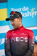 Chris Lawless of Team Ineos on stage at the end of stage 3 as he takes lead in the overall classification during the third stage of the Tour de Yorkshire from Bridlington to Scarborough, , United Kingdom on 4 May 2019.