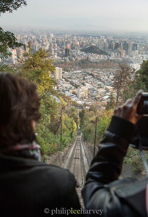 Tourists on cable car on San Cristobal Hill in Santiago, Chile