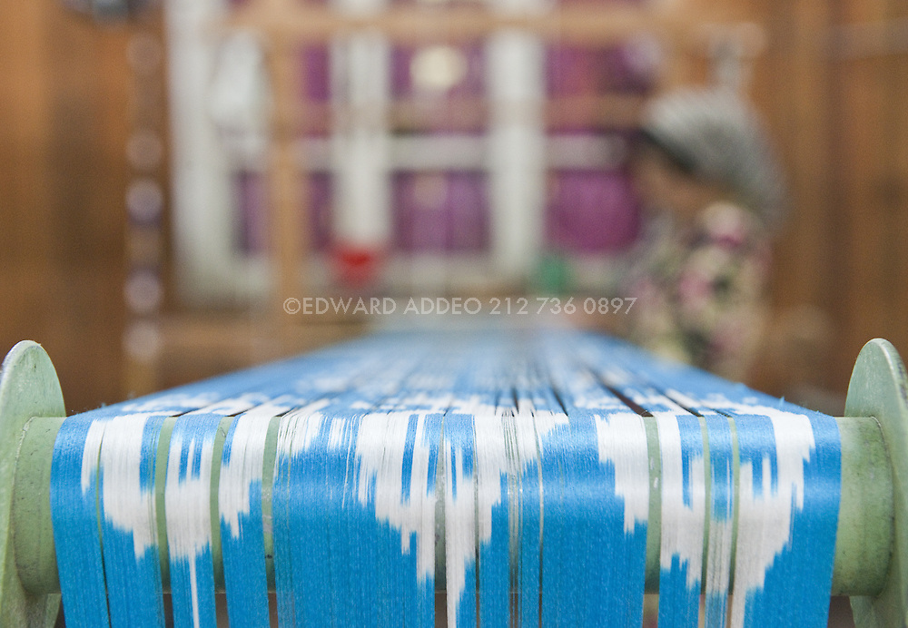 """""""Uzbekistan's Fergana Valley is rightly famous for its ikat fabrics - which require infinite skill and patience of its practitioners. Because of its strong links to the past, and the independent, artistic nature of the process, ikat was suppressed in the Soviet era."""" KR"""