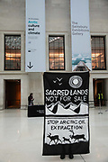 The climate activist group BP or not BP target the Arctic Culture and Climate exhibition in the British Museum on 21st of October 2020 in London, United Kingdom. The exhibition opens to the public 22nd of October and is sponsored by the American bank Citi. The bank is, according to the group, the financial backer of many oil pipeline and drilling projects opposed by indigenous communities in the Arctic. The group sees the protest as a show of solidarity with Indiginous Arctic communities who live on land under immidiate threat from oil drilling and climate change.