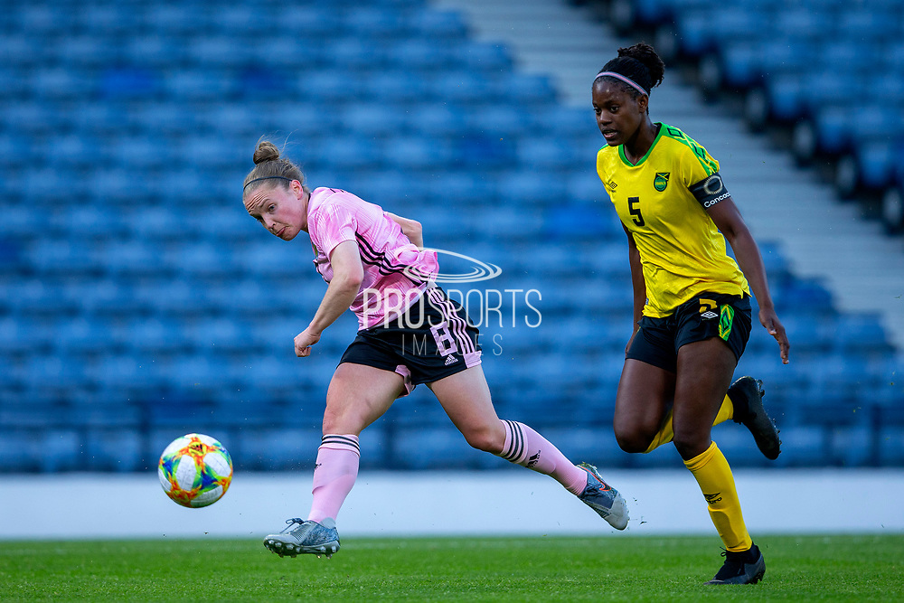 Kim Little (#8) of Scotland hits a shot during the International Friendly match between Scotland Women and Jamaica Women at Hampden Park, Glasgow, United Kingdom on 28 May 2019.