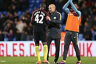 Pep Guardiola, the Manchester City manager hugs Yaya Toure of Manchester City after the final whistle.Premier League match, Crystal Palace v Manchester city at Selhurst Park in London on Saturday 19th November 2016. pic by John Patrick Fletcher, Andrew Orchard sports photography.