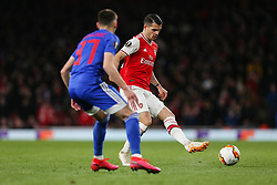 Granit Xhaka of Arsenal passes the ball under pressure - Mandatory by-line: Arron Gent/JMP - 27/02/2020 - FOOTBALL - Emirates Stadium - London, England - Arsenal v Olympiacos - UEFA Europa League Round of 32 second leg