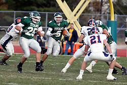 10 November 2007: Robert Beauchamp makes his way up field. This game between the Wheaton College Thunder and the Illinois Wesleyan University Titans was for a share of the CCIW Championship and was played at Wilder Field on the campus of Illinois Wesleyan University in Bloomington Illinois.