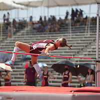 Rehoboth Lynx Anna Huizinga competes in the high jump at the NMAA 2A track and field state finals in Albuquerque Friday.