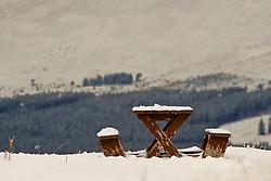 Empty picnic bench at the Cairngorm Ski Area as Storm Doris hits the UK. 24  Feb 2017 (c) Brian Anderson   Edinburgh Elite media