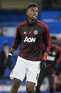 Manchester United Midfielder Paul Pogba warm up during the The FA Cup 5th round match between Chelsea and Manchester United at Stamford Bridge, London, England on 18 February 2019.