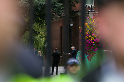 London, UK. 2 September, 2019. Prime Minister Boris Johnson makes an address to the nation outside 10 Downing Street to the effect that there will be a vote on a general election if MPs vote for a further delay to Brexit as hundreds of people shout 'Stop the Coup' at a protest outside in Whitehall.
