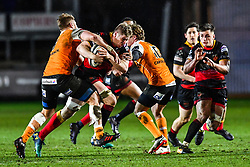 Dragons' Aaron Wainwright is tackled by Cheetahs' Paul Schoeman<br /> <br /> Photographer Craig Thomas/Replay Images<br /> <br /> Guinness PRO14 Round 18 - Dragons v Cheetahs - Friday 23rd March 2018 - Rodney Parade - Newport<br /> <br /> World Copyright © Replay Images . All rights reserved. info@replayimages.co.uk - http://replayimages.co.uk