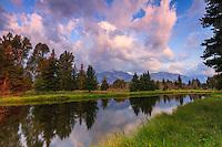 Early morning light at Schwabacher Landing in Grand Teton National Park.