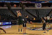 April 2, 2016; Indianapolis, Ind.; Jenna Buchana shoots a three pointer during their practice session at Bankers Life Fieldhouse.