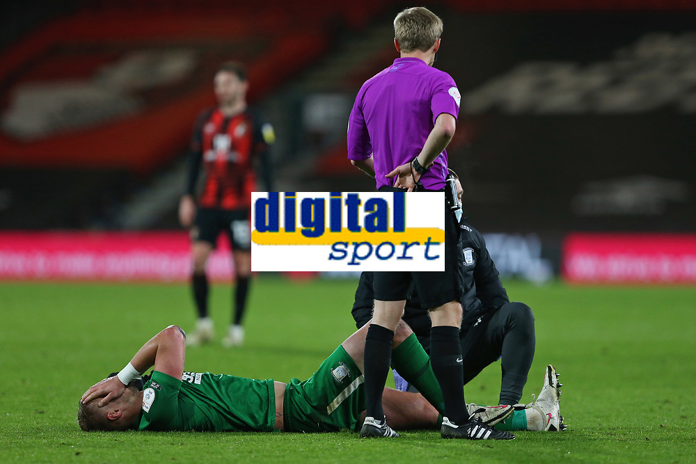 Football - 2020 / 2021 Sky Bet Championship - AFC Bournemouth vs. Preston North End - The Vitality Stadium<br /> <br /> Patrick Bauer of Preston in pain at the Vitality Stadium (Dean Court) Bournemouth <br /> <br /> COLORSPORT/SHAUN BOGGUST