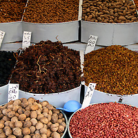 Africa, Morocco, Fes. Legumes, nuts & raisins of Morocco.